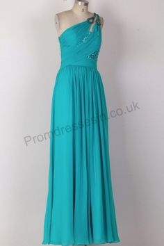 Blue One-Shoulder Chiffon Homecoming Ball Gown 56jlj