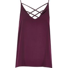 River Island Purple strappy cami (25 AUD) ❤ liked on Polyvore featuring tops, purple, strappy cami, strappy v neck cami, purple camisole, river island and purple cami