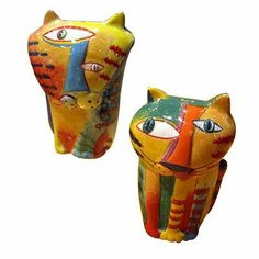 "Muzeum Cat Salt & Pepper Shakers by Prosperity Tree. $15.99. Approximately 3.5"" tall. Part of the Muzeum Cat Collection. Dishwasher safe. Ceramic. Picasso-like cat salt and pepper shakers for the abstract artist or thinker in your life."