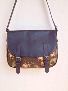 Leather & Canvas Messenger Bag dark brown leather paisley floral shoulder bag handbag classic on Etsy, £78.86