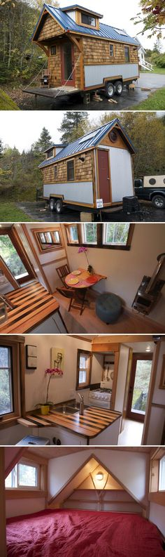 A tiny house with Canadian maple floors, custom furniture built with reclaimed materials, and a beautiful butcher block countertop in the kitchen.
