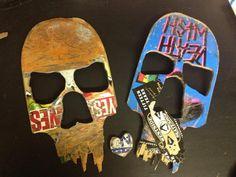 Skull Wall Art from Broken Skateboard Decks on Etsy, $19.29