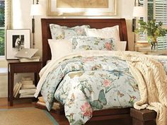 Love the room—not the bedding—butterflies wouldn't work for my spouse. Bedroom Design & Décor Inspiration   Pottery Barn