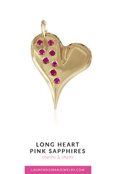 Long Heart with Pink Sapphires Sapphire Gemstone, Pink Sapphire, Jewelry Collection, Charmed, Gemstones, Chain, Heart, Gold, Accessories