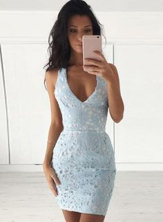 V Neck Sleeveless Lace Bodycon Mini Dress OASAP.com