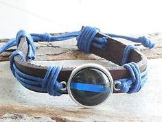 Thin Blue Line Blue Lives Matter Leather and Cord Adjustable Bracelet