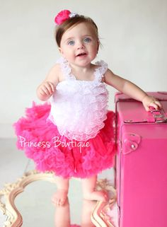 Girls Toddler Cream with Hot Pink Bow /& Pink Chiffon Ruffle Leg Warmers Infant