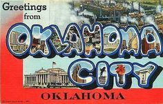1944 Large Letter Greetings from Oklahoma City Oklahoma Antique Vintage Postcard