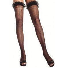 Bas stay-ups résille noir sexy avec dentelle noire femme, accessoire déguisement.