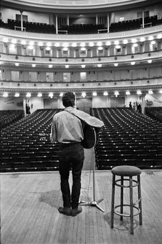 Bob Dylan in rehearsal for his performance at Carnegie Hall in 1963