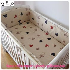 42.80$  Buy here - http://ali20x.shopchina.info/1/go.php?t=32759971281 - Promotion! 6pcs Cartoon Crib Baby Bedding Set Boy Newborn Baby Bed Linens 100% Cotton,include (bumper+sheet+pillow cover) 42.80$ #buyininternet
