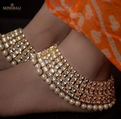 Fashion Anklets Bracelets - Add flare to your style, express your creativity Indian Wedding Jewelry, Indian Jewelry, Bridal Jewelry, Pakistani Jewelry, Indian Bridal, Anklet Designs, Ankle Jewelry, Ankle Bracelets, Buy Jewellery Online