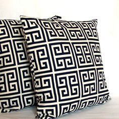 Blue Pillow Covers TWO 18x18 inch Greek Key by PureHomeAccents