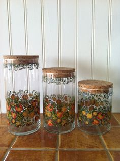 Set of 3 Vintage Glass Corning Ware Spice of LIfe Canisters. $13.00, via Etsy.