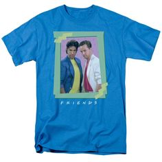 Hot TV Show Friends Poster Printed Blue Tee Shirt Men's Casual Style Round Neck Short Sleeves Cotton Tee Shirt