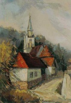 Andrei Branisteanu  - Biserica din Ardeal Romania, Painting, Painting Art, Paintings, Painted Canvas, Drawings