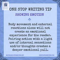 Show your characters' emotions by what they say, their tone of voice, their body language, and their subsequent actions. And don't forget to reflect it in others' responses to those emotions. Fiction Writing, Writing Quotes, Writing Advice, Writing Resources, Writing Help, Writing Skills, Writing A Book, Writing Ideas, Writing Posters