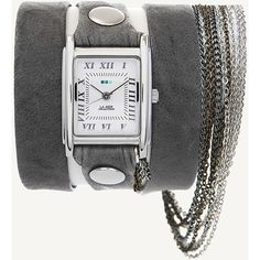 "Extra-long Washed soft leather strap topped with multiple stainless steel chains. Wipe clean. 22"" long and 1/2"" wide strap, Buckle closure. Silver Plated Sq…"
