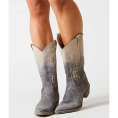 Farylrobin Pilgrim Boot - Grey US 10 ($200) ❤ liked on Polyvore featuring shoes, boots, grey, grey boots, gray cowboy boots, tall western boots, leather upper boots and rubber sole boots