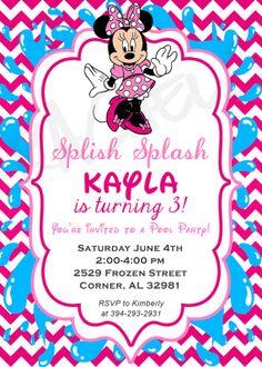 Chevron Minnie Mouse Pool Party Birthday Invitation By Rachellola
