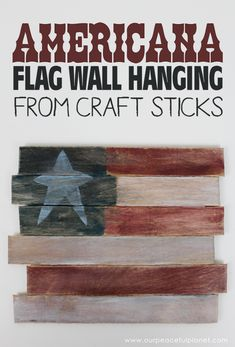 This rustic Americana decor flag can be hung year round and it's so easy for anyone to make! All you need are some large craft sticks, glue and paint. Kids Painting Projects, Cool Diy Projects, Patriotic Crafts, Patriotic Decorations, July Crafts, Summer Crafts, Rustic Americana Decor, Americana Bedroom, Paint Stick Crafts