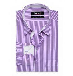 100% Cotton Lilac & White Stripe Dress Shirt