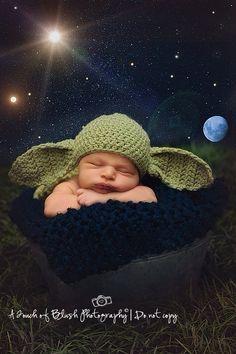 Yoda Hat crochet baby newborn Photo Prop Star Wars  by KaityBraedy, $15.00