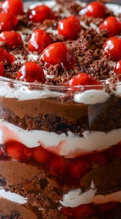 Black Forest Trifle ~ Layers of chocolate cake, chocolate pudding, whipped cream and cherry filling... Trifles are so easy to toss together and always look impressive