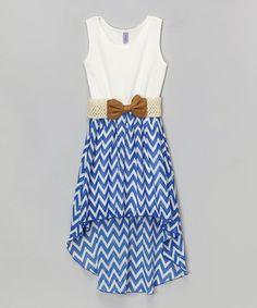 Look what I found on #zulily! Royal Blue & White Chevron Belted Hi-Low Dress - Girls by Maya Fashion #zulilyfinds