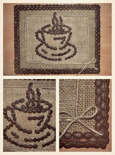 ^ I really like the burlap and coffee ☕ bean combination. I'll bet it smells good, too! Coffee Bean Decor, Coffee Bean Art, Buy Coffee Beans, Coffee Theme, Coffee Crafts, Jute Crafts, Diy And Crafts, Arts And Crafts, Seed Art