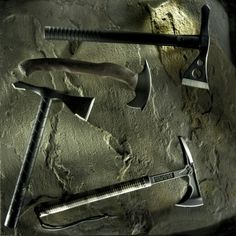 """A selection of the some of the best Tactical Tomahawks on the market today–  Clockwise from top-  SOG Fusion Tactical Tomahawk  RMJ Tactical Shrike Hammer Forged Tomahawk  American Tomahawk LaGana Tactical Tomahawk (""""VTAC"""")  Sayoc/Winkler R&D Hawk F/S"""