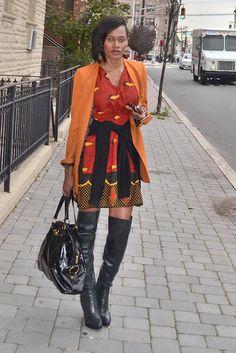 Kiki's Fashion: KIKI'S DESIGNS....the dress, the blazer, the boots and the bag all just work.