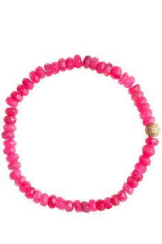 SISCO FAMILY JEWELS :: Raspberry Jade Bracelet :: tiny semi-precious beads with gold bead accent