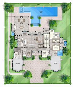 House Plan 52959 - Coastal, Contemporary Style House Plan with 11653 Sq Ft, 5 Bed, 8 Bath, 4 Car Garage Luxury House Plans, Best House Plans, Dream House Plans, House Floor Plans, Luxury Floor Plans, Contemporary Style Homes, Contemporary House Plans, Contemporary Bedroom, Roof Design