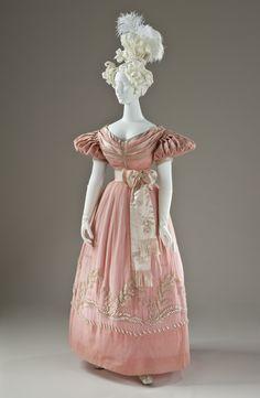 Dress: ca. 1830, English, silk organza, silk satin with faux pearl glass beads.