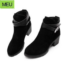 Top Selling  2015 New Sexy Women Autumn Ankle Boots Buckle thick Heels Shoes 3Colors Winter Women's Warm Snow Boots SBT1740(China (Mainland))