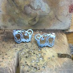 Finished bear 🐻 inspired studs #bear #hannahblackwoodjewellery #studs #silver