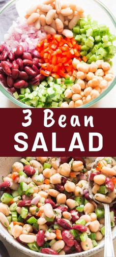 Protein packed 3 bean salad can be made in 15 minutes or less. A simple salad dressing takes this salad to a whole new level. Look no further for a salad that's perfect for potluck and summer picnics! #3beansalad #salads #summersalads #beans #cannedbeans #recipe #saladdressing #dressing #easysalad #classicsalad #vegansalad