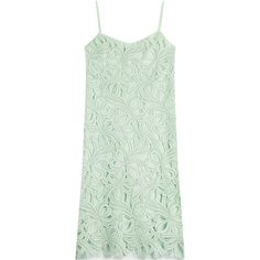 Rochas Embroidered Cotton Dress (26.378.875 IDR) ❤ liked on Polyvore featuring dresses, green, midi dress, green dress, green embroidered dress, embroidered dress and slimming dresses
