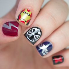If you're a fan of the Marvel Universe, Marvel manicures like this one featuring The Avengers are totally epic.