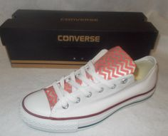 Coral Chevron Converse Shoes by ChaoticMayhem on Etsy, $85.00