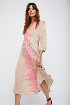 Embroidered Fable Dress | Floral embroidered maxi dress with