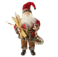 """The Jolly Christmas Shop - 19"""" Nordic Santa Standing Figure with Skis, $29.99 (http://www.thejollychristmasshop.com/19-nordic-santa-standing-figure-with-skis/?page_context=category"""