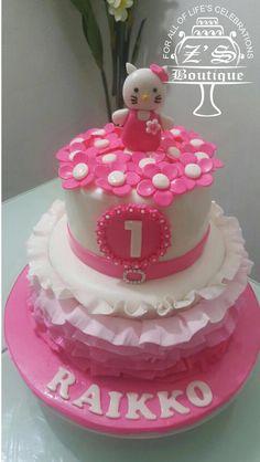 Hello Kitty Cake #HelloKitty #HelloKittyCake #ButterCake #Cookies #Cupcakes #FondantDecorations #YummyCake #DessertTable #FarooZsBoutique