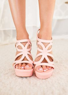 Online boutique. Best outfits. Dancing in Spring Wedges in Pink - Modern Vintage Boutique.