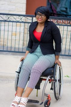 The Do It Yourself Lady: Wheelchair Fashion: Nerdy Chic in High-waisted Pants and Blazer