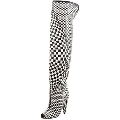 New Tom Ford Black/chalk Woven Leather Over-the-knee Boot ($2,950) ❤ liked on Polyvore featuring shoes, boots, peep toe boots, zebra print boots, peep-toe boots, fur boots and over the knee thigh high boots