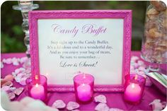 """Candy buffet because """"love is sweet"""". This is such a cute idea!"""