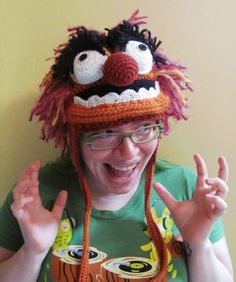 Animal Muppet earflap hat crocheted fan art all sizes made to order