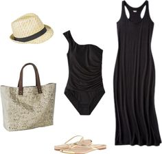 Summer Outfit 20- Maxi Dress + Swimwear + Fedora + Metallic Sandals